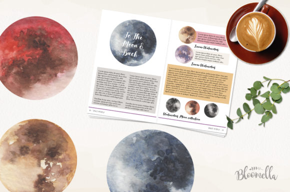 Moon Watercolor Sky Night Painted Dark Graphic By Bloomella Image 3