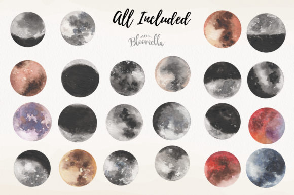 Moon Watercolor Sky Night Painted Dark Graphic By Bloomella Image 5