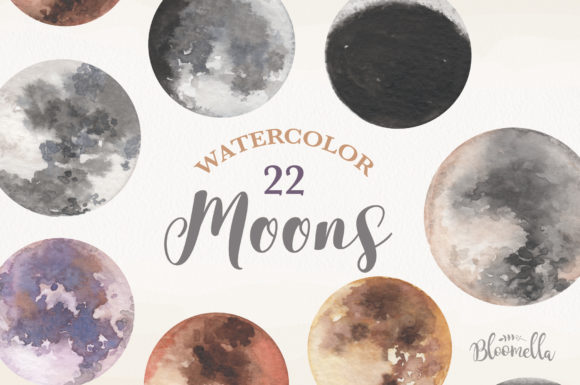 Moon Watercolor Sky Night Painted Dark Graphic Illustrations By Bloomella