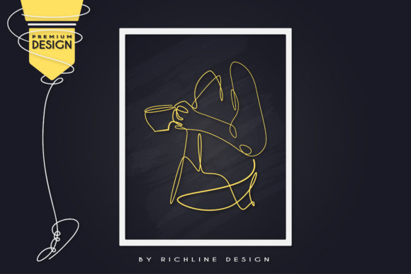 Morning Girl Coffee Cup Line Art Poster Graphic Illustrations By RICHLINE DESIGN
