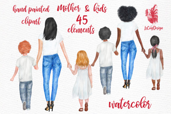Mother and Children Watercolor Clipart Graphic Illustrations By LeCoqDesign