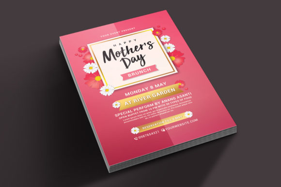 Download Free Mothers Day Brunch Flyer Graphic By Muhamadiqbalhidayat for Cricut Explore, Silhouette and other cutting machines.