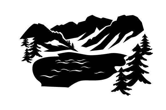 Download Free Mountains Trees And Lake Svg Cut File By Creative Fabrica Crafts for Cricut Explore, Silhouette and other cutting machines.