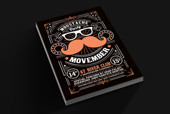 Movember Moustache Party Flyer Grafik Von Muhamadiqbalhidayat