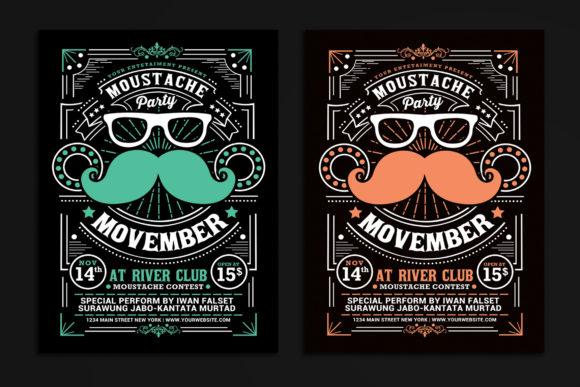Download Free Movember Moustache Party Flyer Grafico Por Muhamadiqbalhidayat for Cricut Explore, Silhouette and other cutting machines.