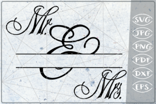 Download Free Mr Mrs Split Monogram Frame Crafters Graphic By Cute Graphic for Cricut Explore, Silhouette and other cutting machines.