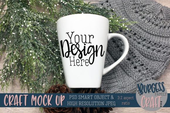 Mug Winter Pinecones PSD & JPG Mockup Graphic Product Mockups By burgessfamilycraft
