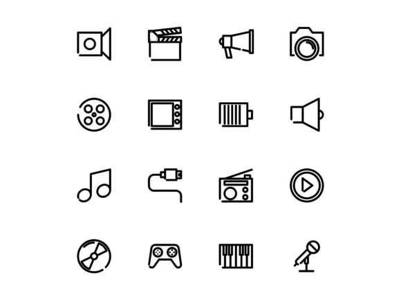 Multimedia Outline Vector Icon Set Graphic By tutukof
