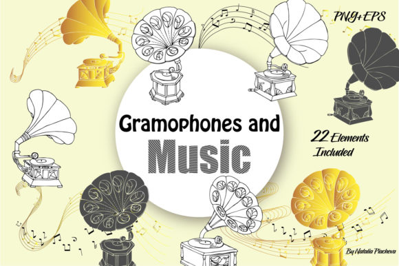 Print on Demand: Music and Gramophones Clipart Graphic Illustrations By natalia.piacheva