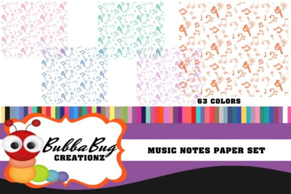 Musical Notes Paper Set Graphic Backgrounds By BUBBABUG