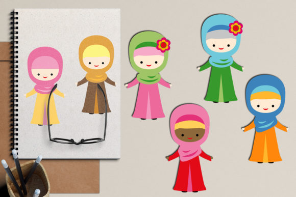 Download Free Muslim Hijab Girls Graphic By Revidevi Creative Fabrica for Cricut Explore, Silhouette and other cutting machines.