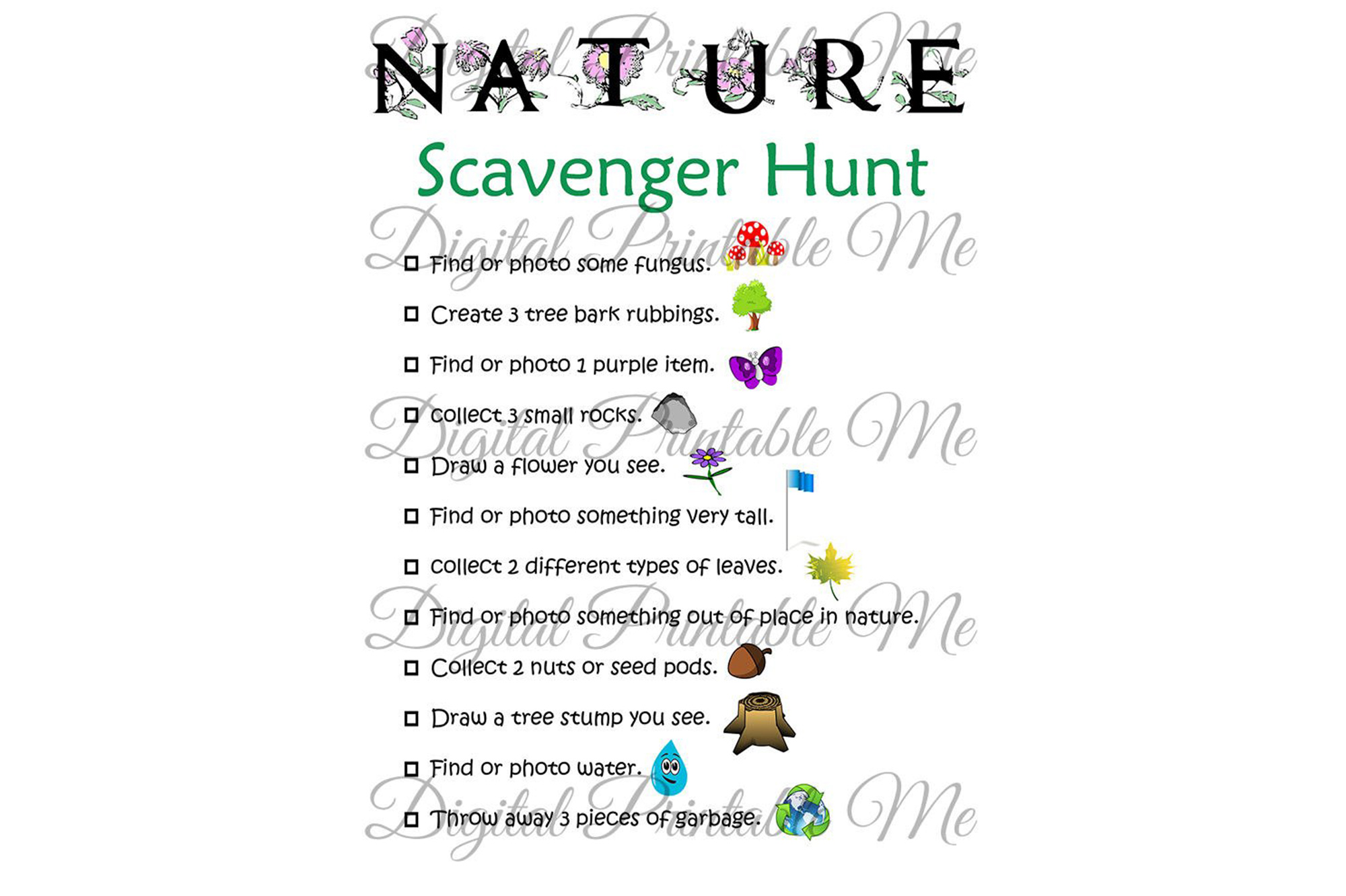 Download Free Nature Scavenger Hunt Kids Activity Game Graphic By for Cricut Explore, Silhouette and other cutting machines.