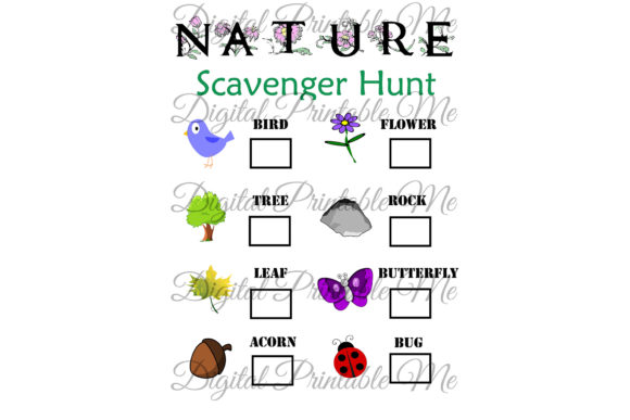 Nature Scavenger Hunt Kids Activity Game Graphic Crafts By DigitalPrintableMe