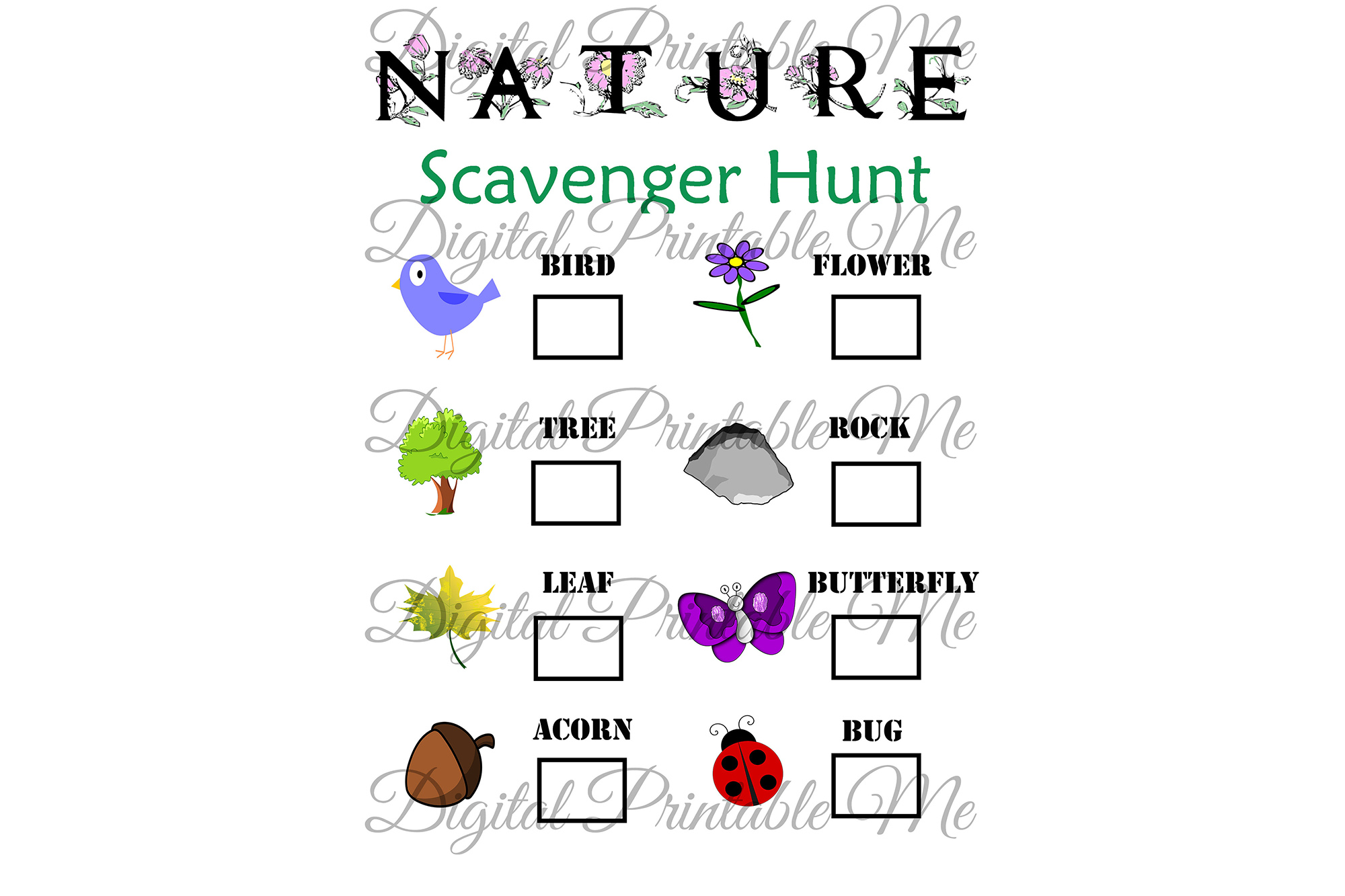 Download Free Nature Scavenger Hunt Kids Activity Game Graphic By Digitalprintableme Creative Fabrica for Cricut Explore, Silhouette and other cutting machines.