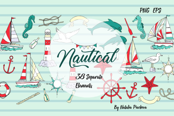 Print on Demand: Nautical Elements with Ships Clipart Graphic Illustrations By natalia.piacheva