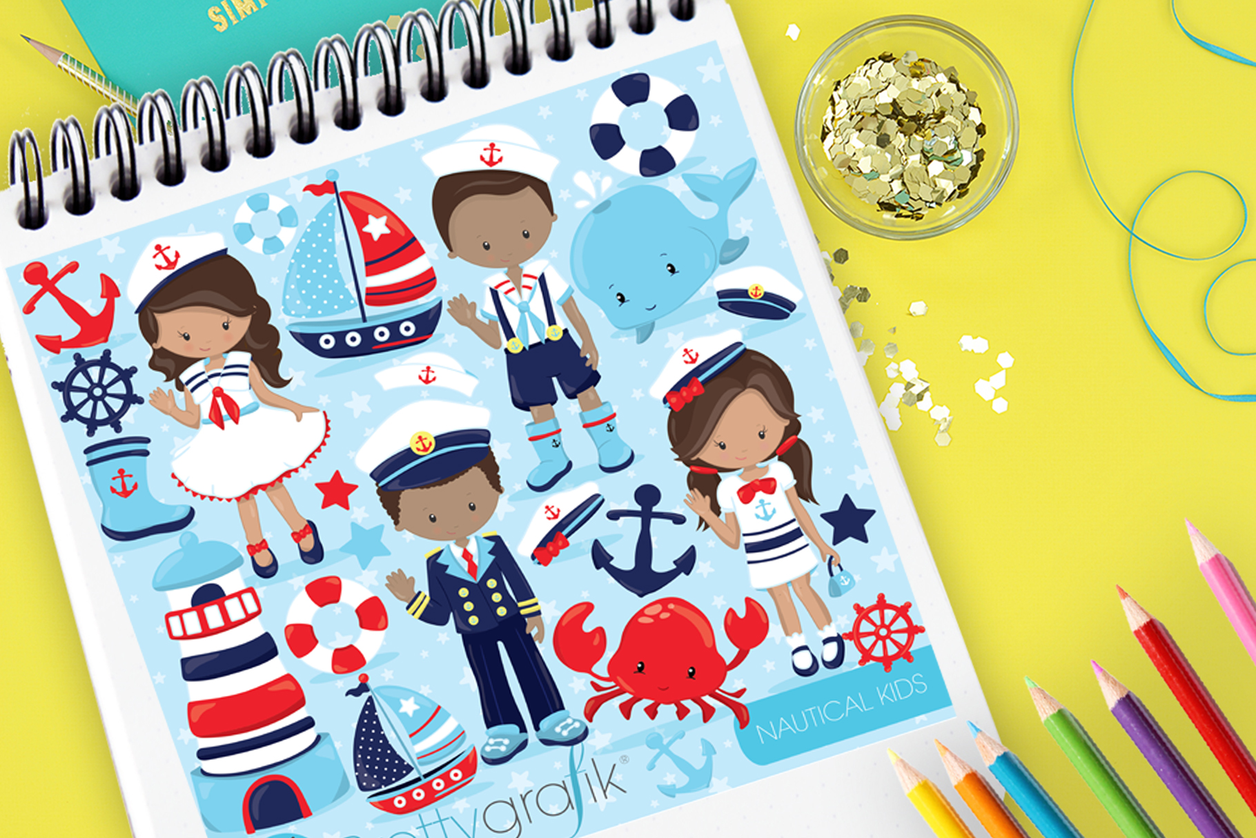 Download Free Nautical Kids Graphic By Prettygrafik Creative Fabrica for Cricut Explore, Silhouette and other cutting machines.