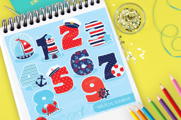 Print on Demand: Nautical Numbers Graphic Illustrations By Prettygrafik
