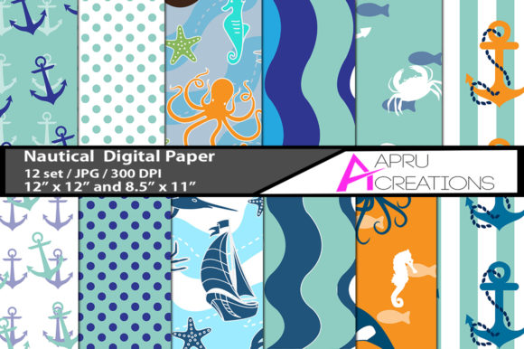 Print on Demand: Nautical Papers and Patterns Graphic Patterns By aparnastjp