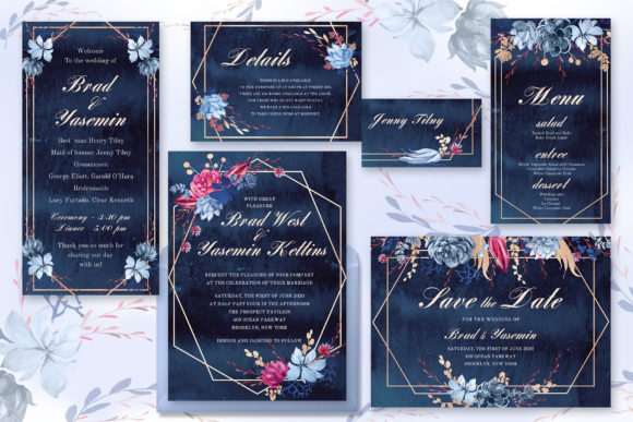 Download Free Navy Watercolor Wedding Invitations Graphic By Iradvilyuk for Cricut Explore, Silhouette and other cutting machines.