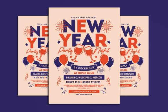 New Year Party Night Graphic Print Templates By muhamadiqbalhidayat