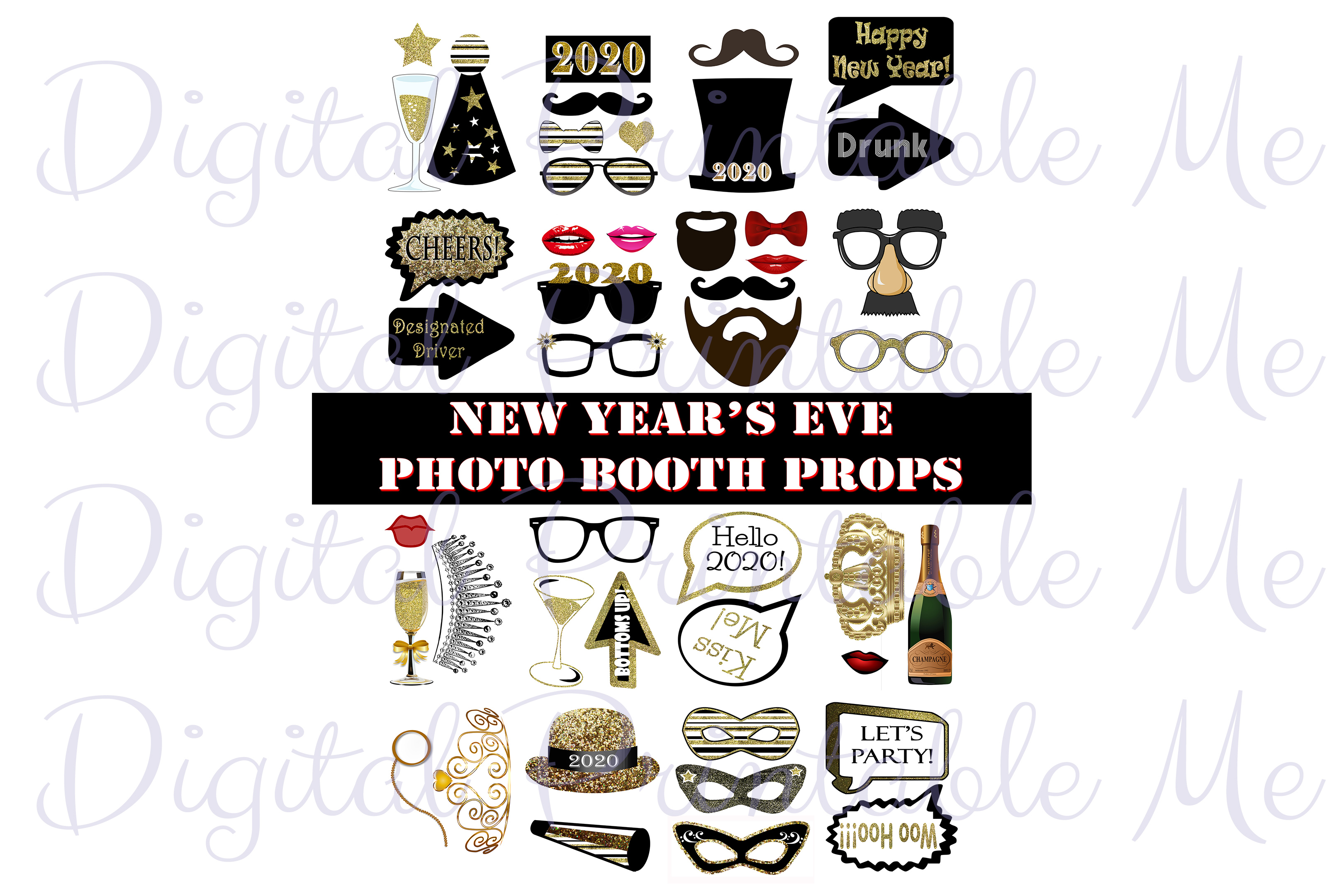 Download Free New Year S Eve Photo Booth Props Gold Graphic By for Cricut Explore, Silhouette and other cutting machines.