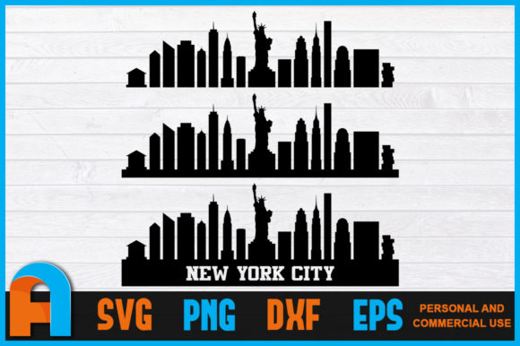 Download Free New York City Skyline Silhouettes Nyc Graphic By Aartstudioexpo for Cricut Explore, Silhouette and other cutting machines.