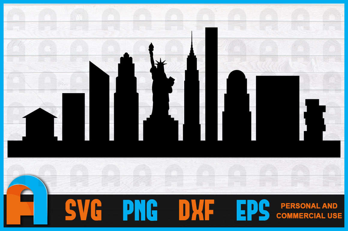 Download Free New York City Skyline Silhouettes Graphic By Aartstudioexpo for Cricut Explore, Silhouette and other cutting machines.