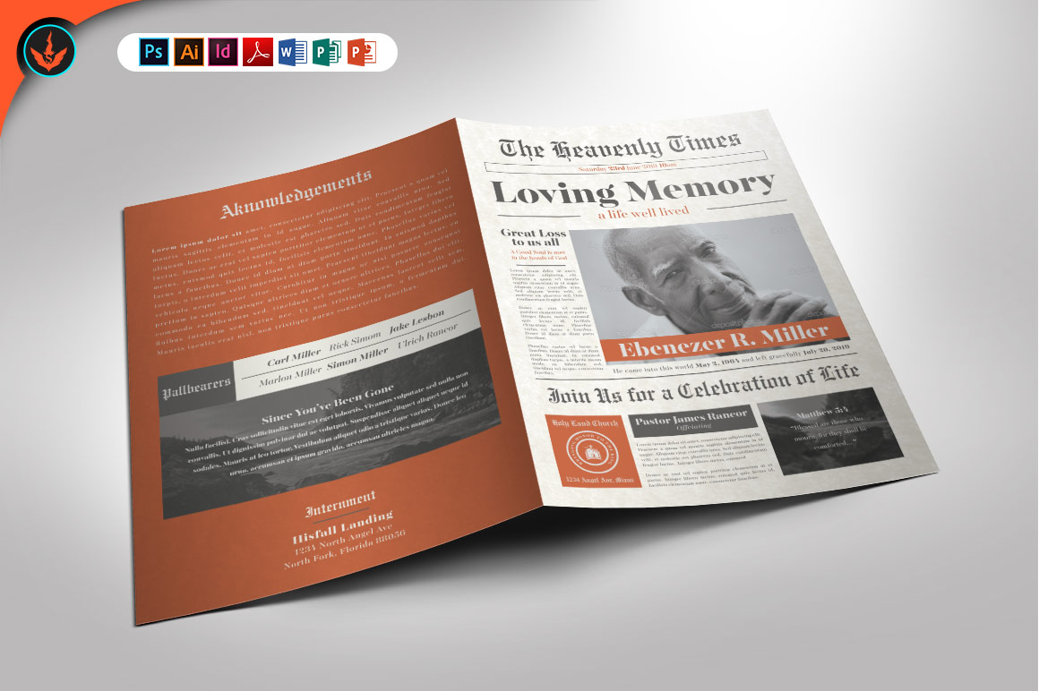 Download Free Newspaper Funeral Program Template Grafik Von Seraphimchris for Cricut Explore, Silhouette and other cutting machines.