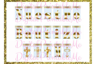 Nuestro Bautizo Banner Blue Gold Baptism Graphic By DigitalPrintableMe