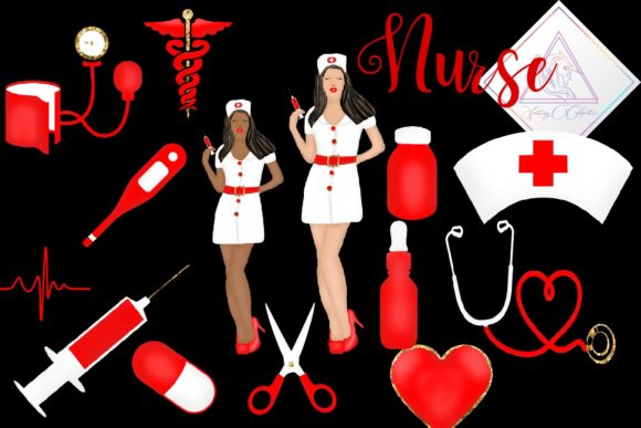 Print on Demand: Nurse Clipart Graphic Illustrations By fantasycliparts