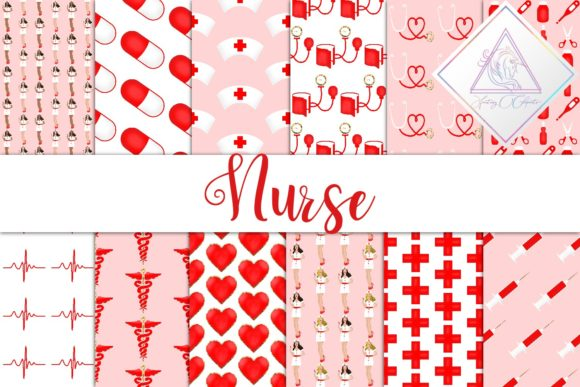 Print on Demand: Nurse Digital Paper Graphic Patterns By fantasycliparts