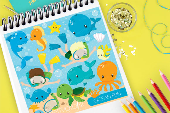 Print on Demand: Ocean Fun Clip Art Graphic Illustrations By Prettygrafik
