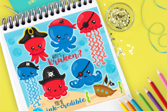Print on Demand: Octopus Pirates Graphic Illustrations By Prettygrafik