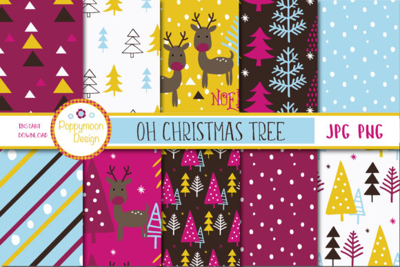 Print on Demand: Oh Christmas Tree Paper Graphic Patterns By poppymoondesign