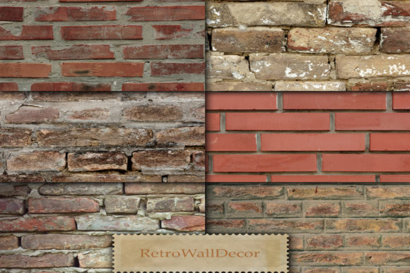 Print on Demand: Old Brick Texture Graphic Backgrounds By retrowalldecor - Image 1