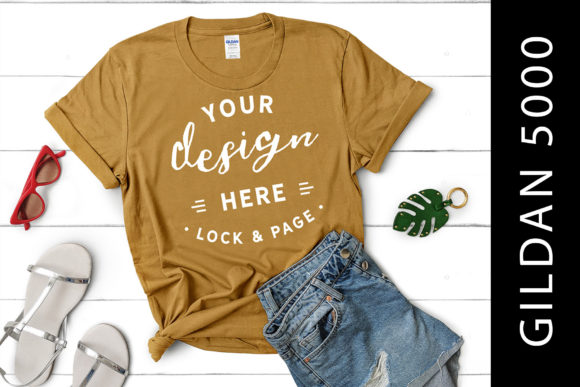 Download Free Old Gold Gildan 5000 T Shirt Mockup Graphic By Lockandpage for Cricut Explore, Silhouette and other cutting machines.