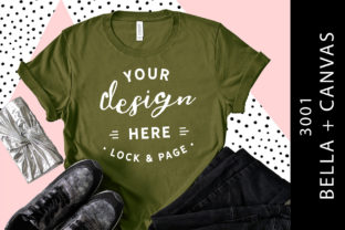 Olive Bella Canvas 3001 T Shirt Mockup Graphic Product Mockups By lockandpage
