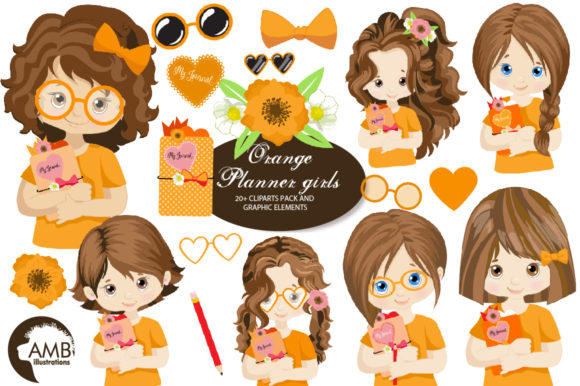Orange Planner Girls Clipart AMB-2183 Gráfico Ilustraciones Por AMBillustrations