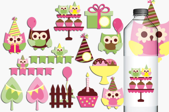Download Free Owl Birthday Party Graphic By Revidevi Creative Fabrica for Cricut Explore, Silhouette and other cutting machines.