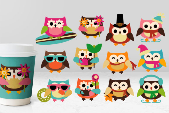 Print on Demand: Owls Four Seasons Graphic Illustrations By Revidevi