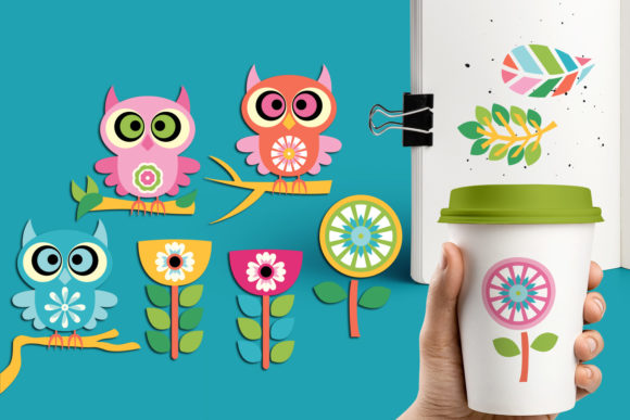 Print on Demand: Owls and Flowers Graphic Illustrations By Revidevi