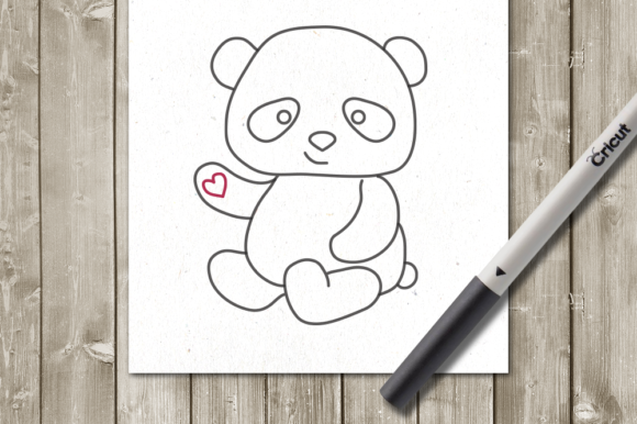 Panda Single Line Sketch for Pens Graphic Crafts By DesignedByGeeks