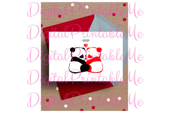 Print on Demand: Panda Valentine's Day Card Love Boop Graphic Crafts By DigitalPrintableMe - Image 1