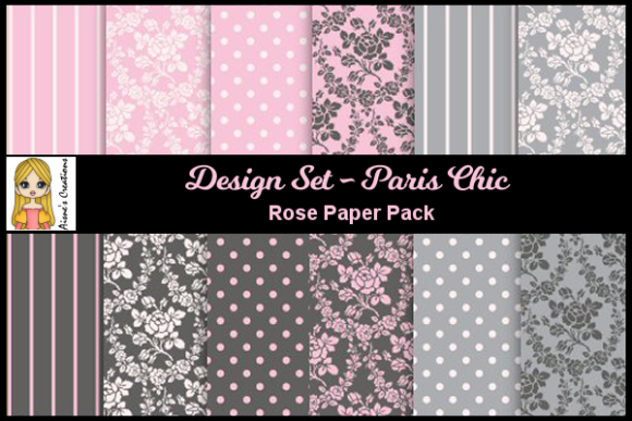 Print on Demand: Paris Chic - Rose Paper Pack Graphic Backgrounds By Aisne
