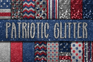 Print on Demand: Patriotic Glitter Digital Papers Graphic Textures By oldmarketdesigns
