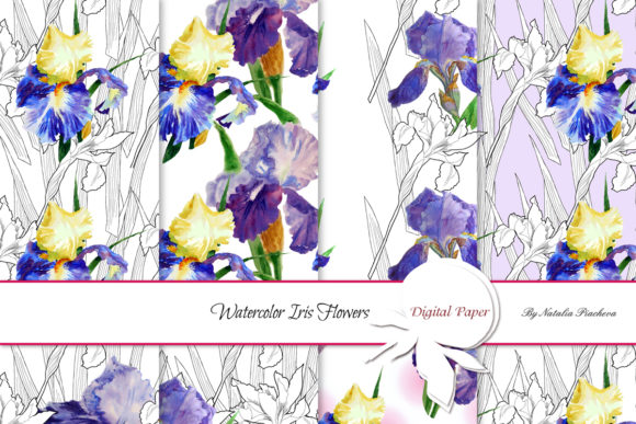 Print on Demand: Patters with Watercolor Irises Graphic Patterns By natalia.piacheva