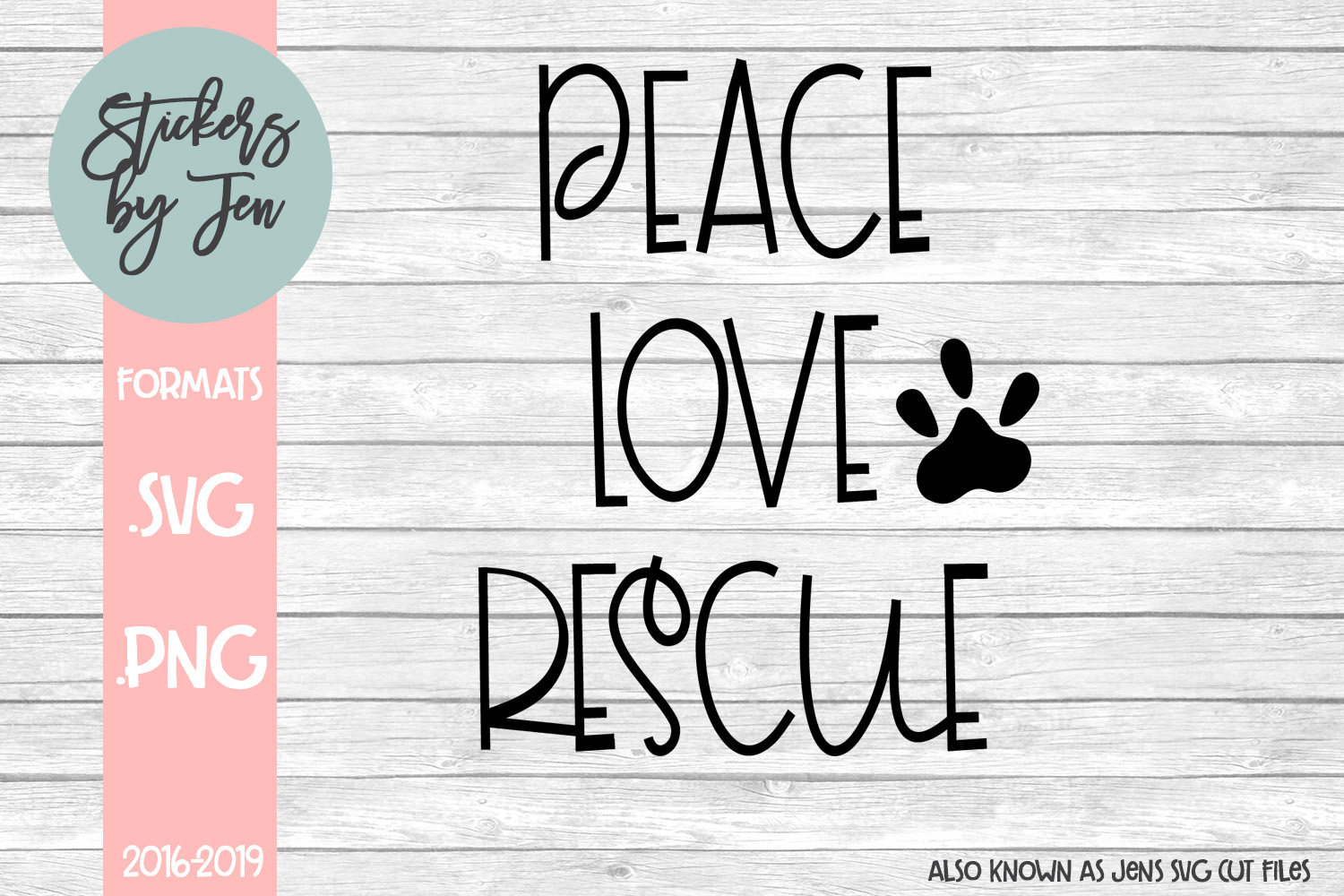 Download Free Peace Love Rescue Svg Graphic By Stickers By Jennifer Creative for Cricut Explore, Silhouette and other cutting machines.