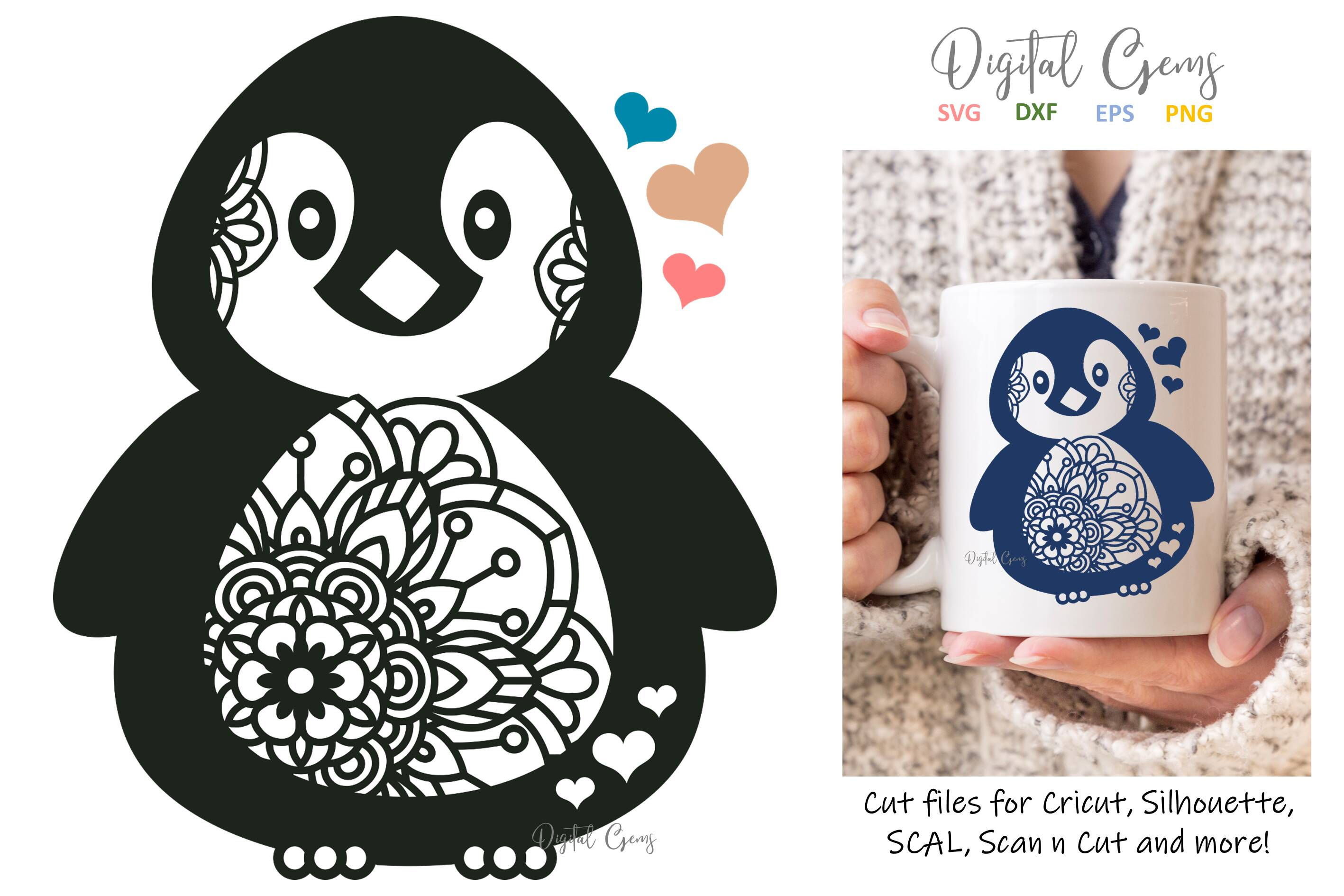 Download Free Penguin Design Graphic By Digital Gems Creative Fabrica for Cricut Explore, Silhouette and other cutting machines.