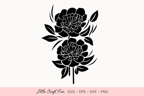 Print on Demand: Peonies Florals Silhouette Gráfico Crafts Por Little Craft Fun