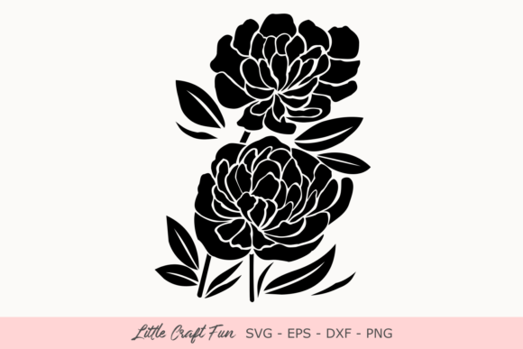 Download Free Peonies Flowers Silhouette Svg Graphic By Little Craft Fun for Cricut Explore, Silhouette and other cutting machines.